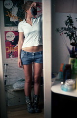pra_ko_10 (mariczka) Tags: me mariczka selfportrait film analog vintageanalogue girl standing camera mirror reflection praktical 50mm f18 carlzeiss myroom home boots shorts jeans slr konicaminoltavxsuper100 cute explored daisydukes praktica