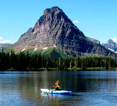 Kayaking Montana, Glacier National Park, Two Medicine Lake (moonjazz) Tags: lake mountains nature beauty montana kayak quiet peace paddle canoe health harmony rockymountains glaciernationalpark wilderness twomedicinelake peopleandnature colourartaward sinopath