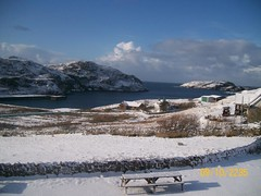 Loch Clash in the snow (Niseag) Tags: sea snow scotland fishing harbour flakes sutherland klb kinlochbervie