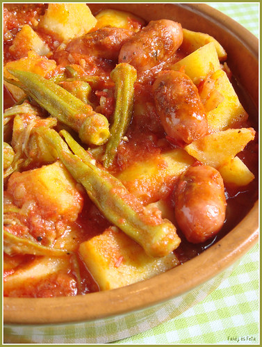 Okra with potatoe and sausage