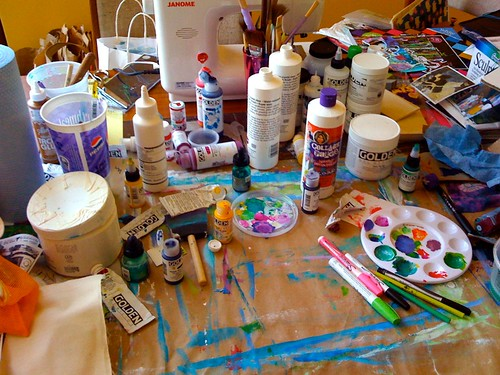 my MESSY art studio table