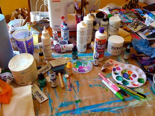 my MESSY art studio table
