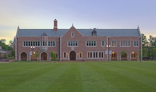 Danforth University Center, Washington University, in Saint Louis, Missouri, USA - front view at dusk