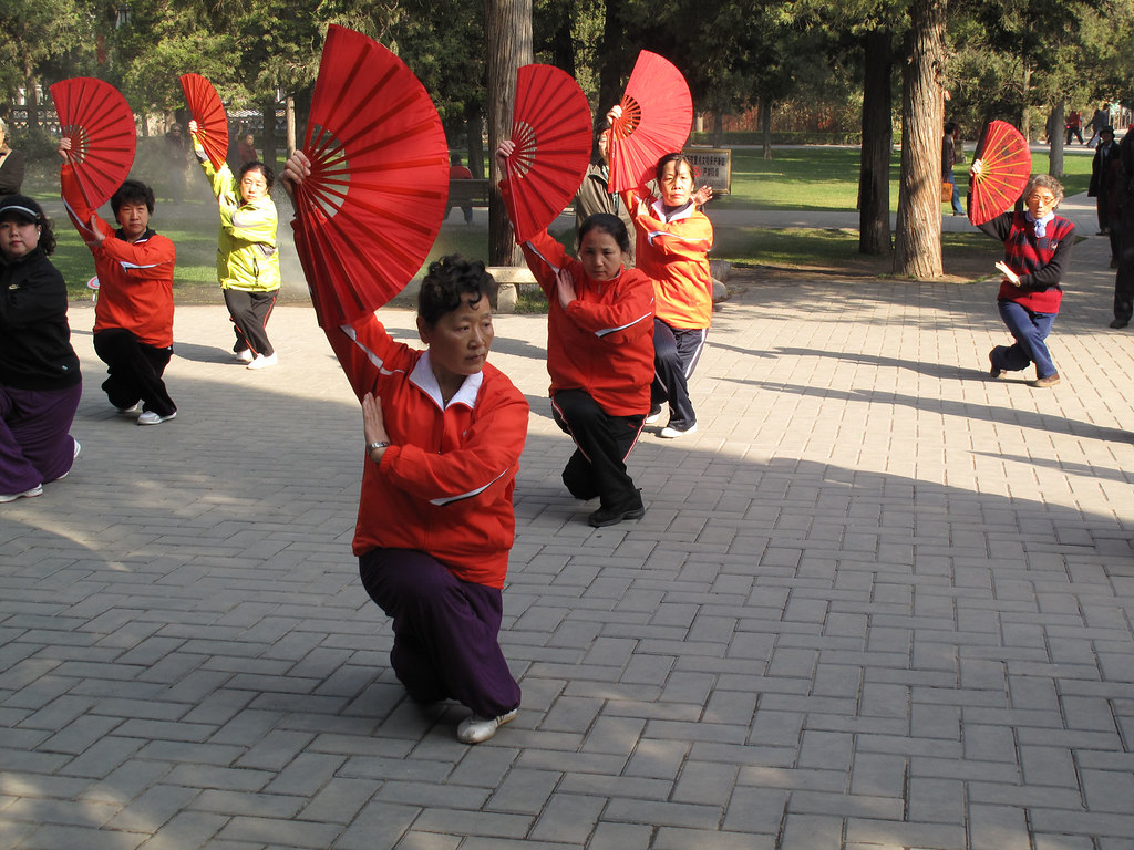 Taiji fan demonstration in Jingshan Park, Beijing