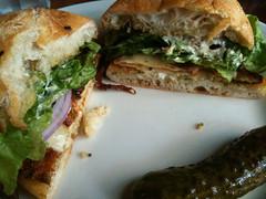 Schnitzel club sandwich at Gustavs