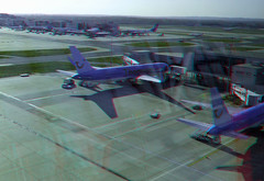 Thomson airways airplanes parked at Gatwick in anaglyph 3D - by 3dstereopics