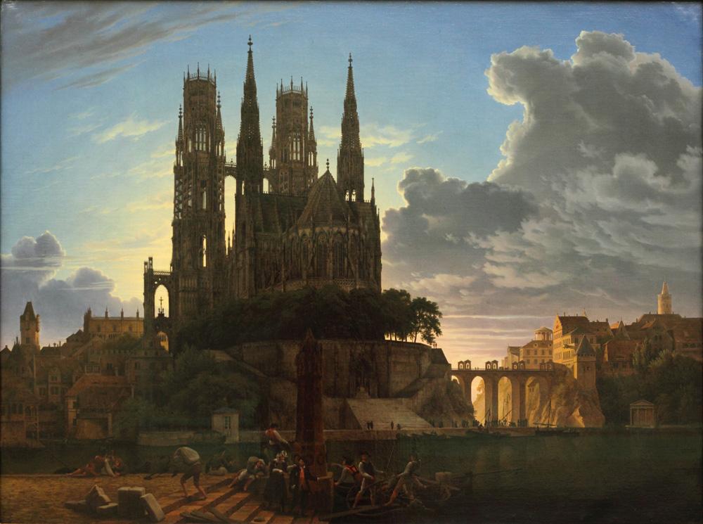 Karl Friedrich Schinkel, Dom über einer Stadt [Cathedral Towering over a Town], 1813