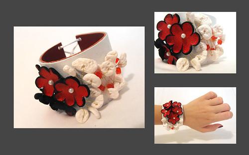 Leather red flowers bracelet. Leather floral cuff bracelet.