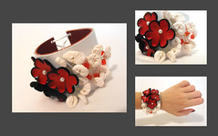 Leather red flowers bracelet. Leather floral cuff bracelet. (julishland_) Tags: red white flower floral leather jewelry bracelet cuff redandwhite cuffbracelet leathercuff leatherbracelet floralbracelet julishland