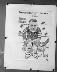Vancouver (Millionaires) Hockey Team, Vancouver Hockey Club [copy of photo/caricature of Hughie Lehman]