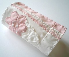a gift (contemporary embroidery) Tags: pink white hexagon handembroidery ruching patchworkmuslin