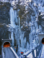 Frozen (mauro742) Tags: road winter cold fall ice strada tunnel inverno freddo galleria ghiaccio passo cascata sanboldo