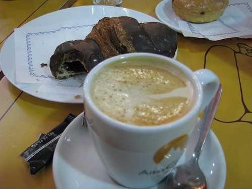 First Snack - Coffee and a chocolate croissant