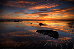 Sand Claws (Matthew Stewart | Photographer) Tags: sunset orange reflection yellow clouds 1st matthew january australia brisbane stewart qld queensland ripples 2009 claws shorncliffe