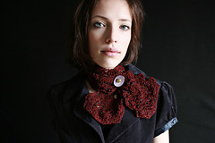Knitted Lace Cravat (stitchdiva) Tags: pattern knit cravat stitchdivastudios jenniferhansen beadedlace throatadornments