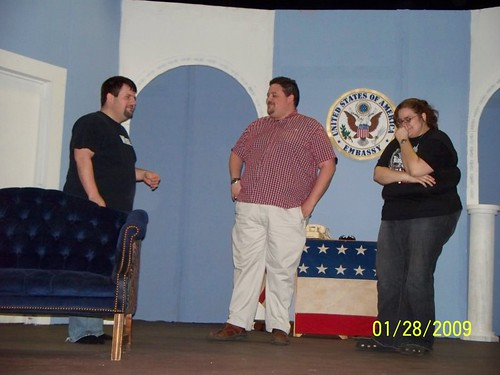 Axel, Walter Hollander (yours truly) and Marion Hollander (Katie DeHart) start to crack up during rehearsal.