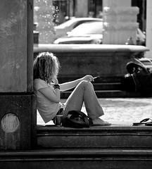 Lady at Rest B&W (Orbmiser) Tags: people bw woman fountain oregon portland nikon explore barefoot request d40 55200vr 55200mmf456gedifafsdxvr