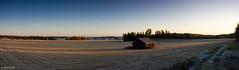 sunraise on autumn fields (laku) Tags: autumn panorama fall field sunrise canon suomi finland landscape eos maisema syksy pelto 40d nousu auringon