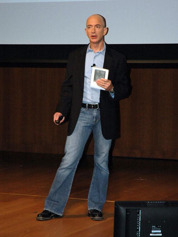 Jeff Bezos with Kindle 2