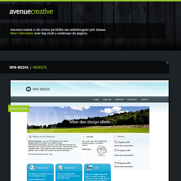 Avenue Creative website that uses color well.