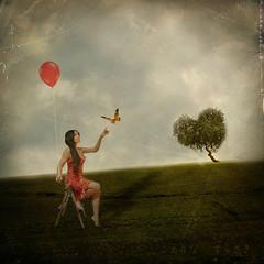 The Love Tree (Jenny Terasaki Photography) Tags: portrait tree love photoshop self balloons spring heart valentine chapeau 365 visualart themoulinrouge 100faves 150faves abigfave memoriesbook empyreanart jennyterasaki arttouch