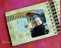 """""""life in delight"""" (latarnia_morska) Tags: tree ink paper wire photos stamps button punch rrr recycling distress binding hemp recycledcardboard binditall olddictionary scallopedcircle"""