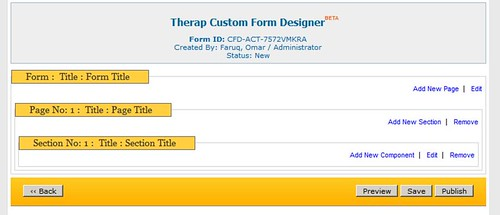 Screenshot of 'Therap Custom Form Designer' page