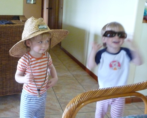 lucas & cedar in hat and sunnies