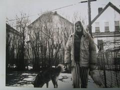 Andrea in the 'Hood' (rawart90) Tags: urban dog boston yard backyard 60s suburban massachusetts neighborhood chainlink hood suburbs 1960s chainlinkfence smokie roslindale thehill thehood 60sfashion andreaquinlan granadaave rawstonrd