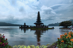 "Pura Ulun Danu  ""The Floating Temple"" (tropicaLiving - Jessy Eykendorp) Tags: bali lake flower clouds canon reflections indonesia landscape temple eos scenery buddhist floating hindu pura 1022mm ulun danu danau bratan beratan bedugul 50d tropicaliving"