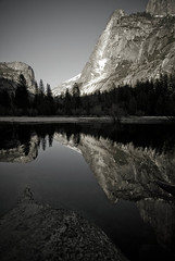 .anything i can shoot, ansel shot better... (bex finch) Tags: california lake reflection water beauty still heaven mirrorlake bank yosemite granite halfdome tuolumne yosemitevalley