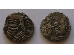 Ancient Parthian coin of Vologases IV (Baltimore Bob) Tags: old money silver persian coin ancient antique persia tigris seleucia tyche parthian billon parthia tetradrachm arsacid seleukia arsakid