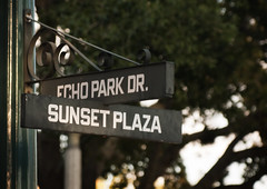 Echo Park Dr. and Sunset Plaza (IceNineJon) Tags: travel sign unitedstates florida bokeh streetsign disney roadsign waltdisneyworld sunsetplaza hollywoodstudios disneyshollywoodstudios 29kmswoforlando echoparkdr