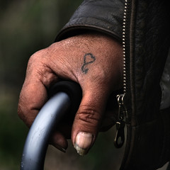 tough love (Stephen's PhotoArt) Tags: leather cane hand heart thumbnail tatoo ralph hourofthesoul
