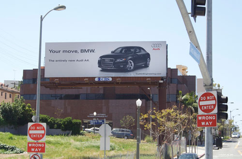 California which aims to introduce the new Audi A4 which takes a swipe