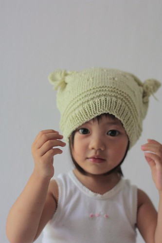 modelling her new winter hat