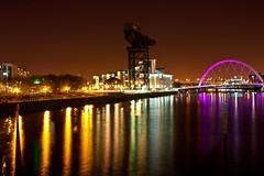 Glasgow walkway, Clydeport Crane No7, Squinty bridge, Glasgow Clydeside (FireDance ~ Liz - Mostly Off) Tags: bridge riverclyde waterfront cranes clydeside squintybridge canon450d clydeportcrane glasgowclydeside clydeportcraneno7