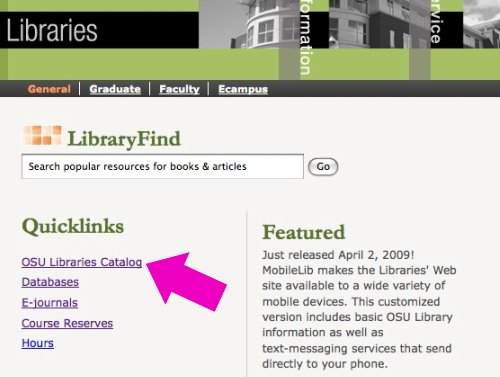 OSU Library Homepage with quicklinks catalog link highlighted
