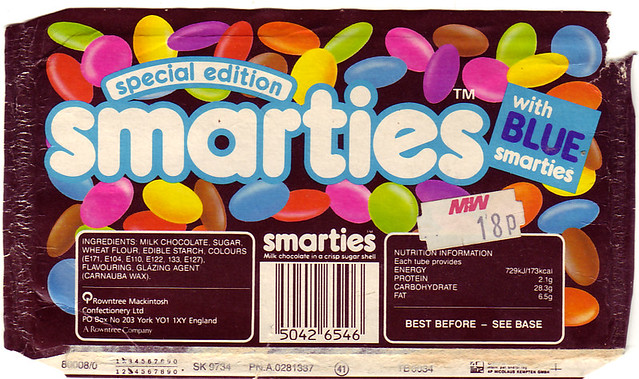 Rowntree's Smarties Tube 80's. Special edition with blue Smarties.