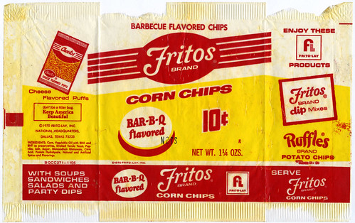 Frito-Lay - Fritos Bar-B-Q Flavored Fritos chips 10-cent bag - 1970