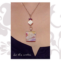 Original Glass Tile Pendant . Designs, illustration Heart in the clouds by Lore M.