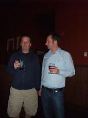 Jamie Floyd of Ninkasi Brewing joins Seth Howard at Collins Pub during a Seattle Beer Week brewers dinner.