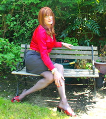 Pin Up for hire? (Julie Bracken) Tags: old red portrait fashion hair tv cd mini skirt crossdressing tgirl transgender mature tranny transvestite pantyhose crossdresser crossdress tg trannie mtf travesti m2f feminized enfemme xdresser tgurl feminised transsister julieb85