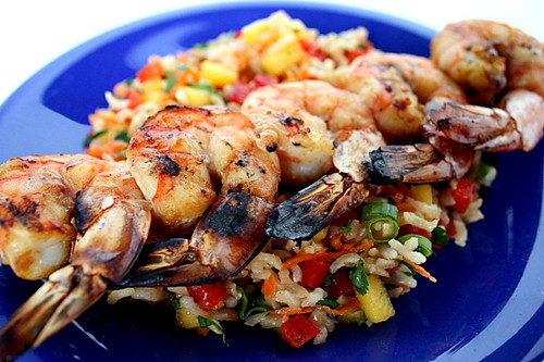 grilled shrimp with mango rice