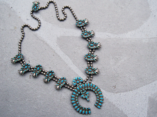turquoise-pineapple-necklace-cher, squash blossom necklace