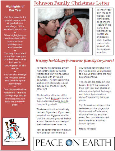 word newsletter template for christmas