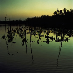 Twilight Abstract (IMG0006) (Fadzly @ Shutterhack) Tags: leica sunset film silhouette analog river catchycolors landscape twilight fuji lagoon malaysia fujifilm terengganu kualaterengganu my fujipro160s leicar6 fadzlymubin shutterhack negativefilmscan summicronr35mmf20 marangfishingvillage leicasummicronr35mmf20e55
