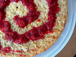 Coconut Rice Pudding Cake with Raspberry Compote