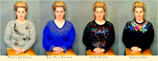 Leslie Hall sits in four fantastic sweaters for a photo shoot