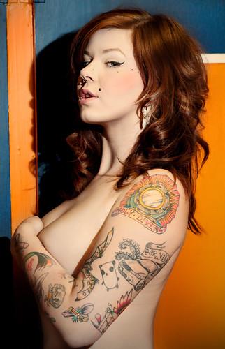 Women, Semi-Nude, Tattoo,